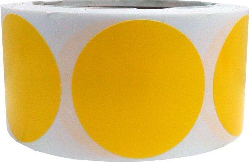 Amarillo Circulo Punto Pegatinas, 51 mm 2 Pulgadas Redondo, 500 Etiquetas en un Rollo