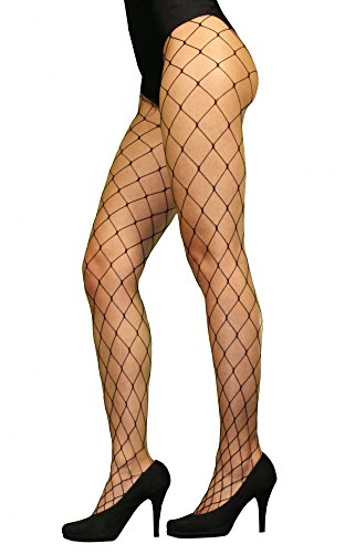 High Heels Kostüm - Foxxeo Sexy Netzstrumpfhose schwarz große Maschen Löcher Netz Strumpfhose grobe Kostüm Fasching