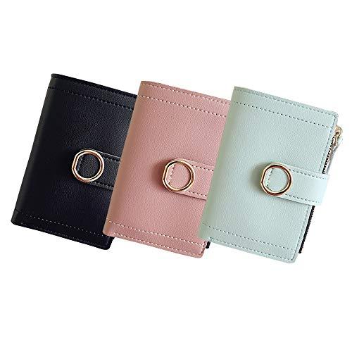 Lcjtaifu Damen Brieftasche Handtasche Kurze Damen Runder Ring Brieftasche Lange Schnalle 2 Fold Einfache Brieftasche 3 Pcs (Color : Multi-Colored, Size : S) -
