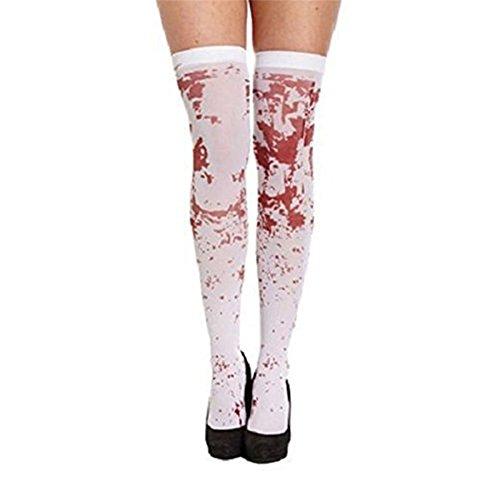Demarkt Halloween Damen Blutflecken Strümpfe Kostüm Cosplay Horror Socken 70cm (Blutige Krankenschwester Kostüm)