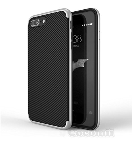 iPhone 8 Plus / 7 Plus Coque, Cocomii Demon Armor NEW [Heavy Duty] Premium Carbon Fiber Slim Fit Shockproof Hard Bumper Shell [Military Defender] Full Body Dual Layer Rugged Cover Case Étui Housse App Silver