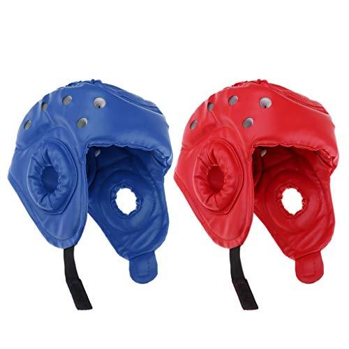 perfk 2er Pack Herren Damen Leder Kopfschutz Box Helm Kopfschutzhelm Headguard Kampfsport Gesichtsschutz -