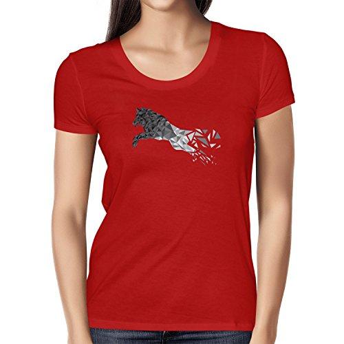 TEXLAB - Polygon Wolf - Damen T-Shirt Rot