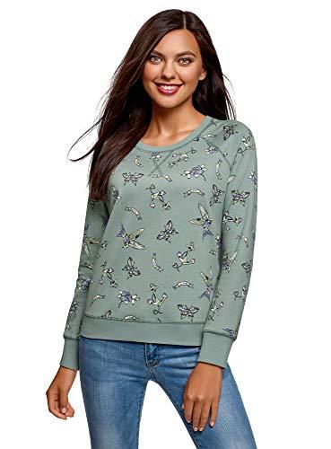 oodji Ultra Damen Bedrucktes Sweatshirt Basic, Grün, DE 44 / EU 46 / XXL