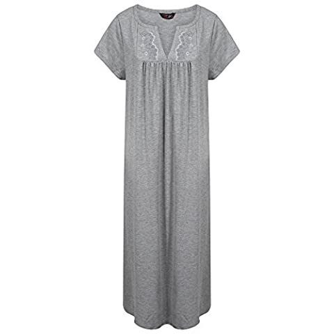 Ladies Plus Size Long Embroidered Jersey Nightdress. Purple, Pink Marl, Blue, Wine, Dark Grey, China Blue, Navy New Grey Sizes 10-12 14-16 18-20 22-24 26-28 30-32 34-36 (18/20, NEW GREY)