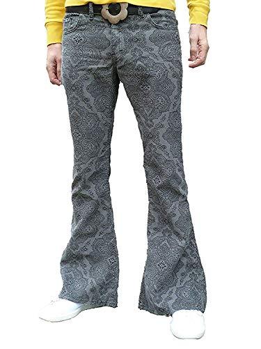 Fuzzdandy Herren Paisley Bell Bottoms Schlaghosen Grau Schlaghose Jeans Retro Hippie Medern Indie - grau, 32