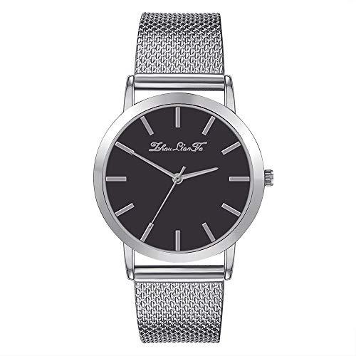 Gloaming Räumungs-Frauen beiläufige Luxusfreizeit-Leder-Edelstahl-Quarz-Uhr, minimalistische Retro Art-Armbanduhr der Damen