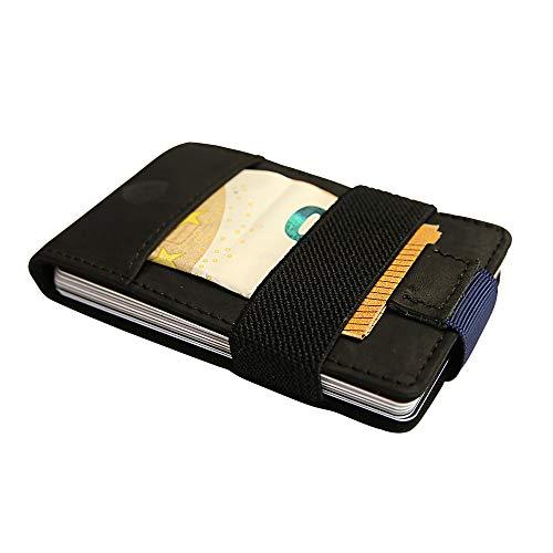 SECUREFY® Nano Coin - TÜV zertifiziertes RFID Slim Wallet mit Münzfach - Kreditkartenetui aus hochwertigem Leder für bis zu 15 Karten - Soft Touch Vintage Leder - Schwarz