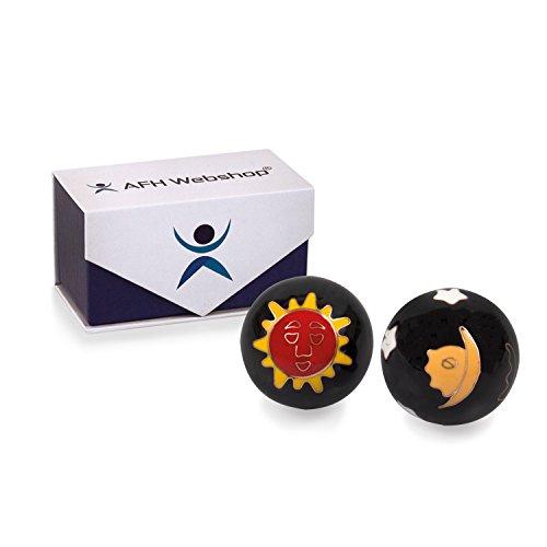 Meditation Qi-Gong-Kugeln mit Klangwerk | Klangkugeln | Yin Yang | Design Sonne und Mond schwarz | verschiedene Durchmesser (Ø 40 mm)