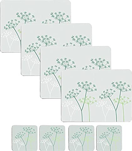 Set of 8 Pale Green Floral Placemats & 8 Coasters