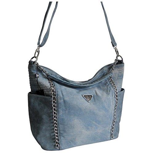 Lässige Canvas Jeans Schultertasche von Jennifer Jones - Damentasche , Shopper , Umhängetasche , Vintage Handtasche , Denim - Baumwollstoff Segelstoff ( Blau ) - präsentiert von ZMOKA® (Jeans-handtasche)