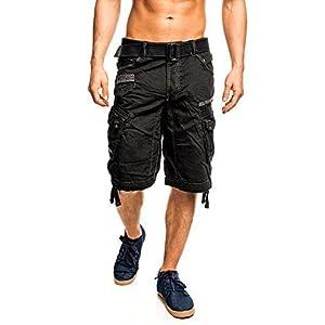 6J3 Geographical Norway People Herren Bermuda Shorts Kurze Hose Schwarz XXL
