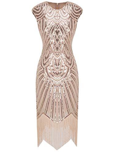FAIRY COUPLE Vestito Gatsby Donne 1920s Vestito Abito Anni 20 Donna Vestito da Sera Paillette Impreziosito Frange D20S002