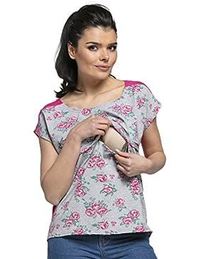 c459441b71cf HAPPY MAMA Donna T-Shirt Allattamento Collo Rotondo Cerniera Lampo. 392p