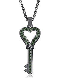 "Silvernshine 1.35 Ct Green Garnet Heart Key Pendant 18"" Chain Necklace In 14K Black Gold Fn"