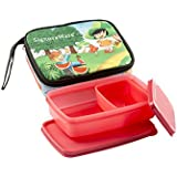 Signoraware Friends Compact Small Lunch Box With Bag Set, 2-Pieces, Deep Red