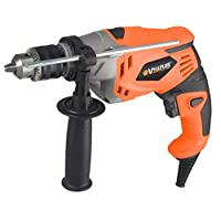 1050Watts Corded Hammer and Drill 3000RPM, 2 Mode In 1, Impact Drill Variable-speed Keyed Metal Chuck Max 13MM Drilling for Wood, Steel, Brick, Concrete, Aluminum Metal Gear House VPID1011B