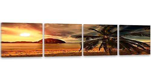 Feeby Frames, Leinwandbild, Bilder, Wand Bild - 4 Teile - Panoramabild, Wandbilder, Kunstdruck 50x200 cm, PALME, FELSEN, MEER, STRAND, LANDSCHAFT, SONNENUNTERGANG, GRÜN, BRAUN