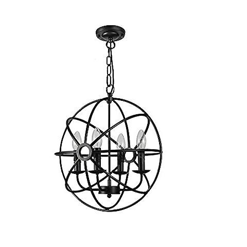 ZHOUZHOU Industriel Cru Noir Fer Pendentif Éclairage Globe Ombre Pendaison Plafonnier Pétrole Frotté Bronze