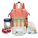 Wickeltasche Baby Rucksack mit Wickelauflage, Isolierte Kühlertasche für Flaschenlagerung, Kinderwagen Straps, große Kapazität, stilvoll und langlebig (Color : Orange)