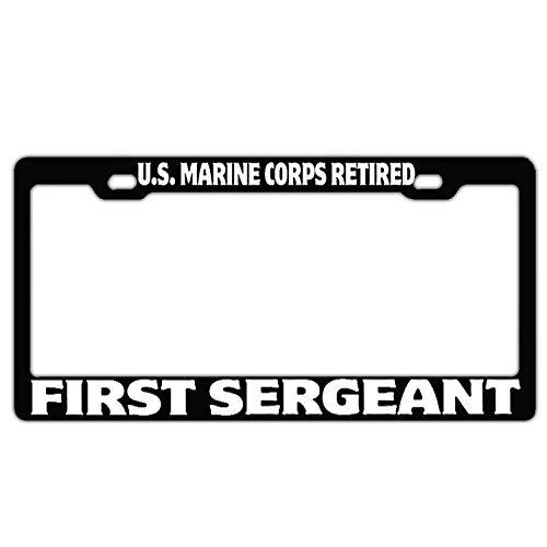 qidushop Us Marine Corps Retired First Sergeant Black Decor Aluminium Auto Kennzeichenabdeckung Edelstahl Autohalterung -