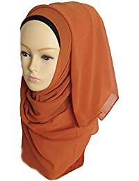 hrph Bufandas de la manera de las nuevas mujeres del fular de viscosa bufanda musulmán islámico Hijab gran tamaño maxi cuello liso mantón
