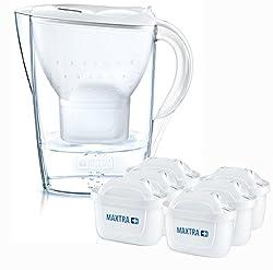 BRITA Wasserfilter Marella weiß inkl. 6 MAXTRA+ Filterkartuschen - BRITA Filter Halbjahrespaket zur Reduzierung von Kalk, Chlor & geschmacksstörenden Stoffen im Wasser
