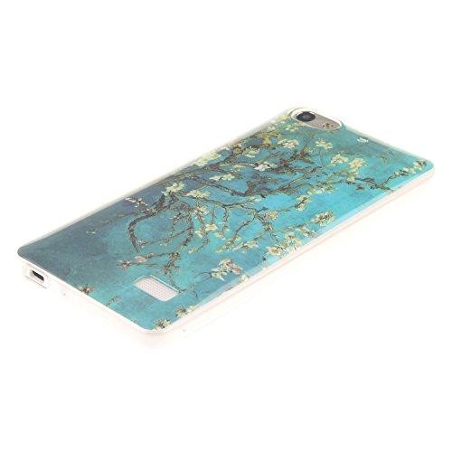 Huawei G Play Mini hülle,MCHSHOP Ultra Slim Skin Gel Schlank TPU Case Schutzhülle Silikon Silicone Schutzhülle Case Back Cover für Huawei G Play Mini (Honor 4C) - 1 Kostenlose Stylus Pen (weiße tiger  mandel blumen baum mit blauem hintergrund
