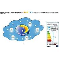 Kinderlampe mit Motiv Mond und Nachtlichtfunktion / Farbe: Blau (auch in anderen Farben erhältlich)Kinderdeckenleuchte Kinderzimmerlampe Kinderleuchte Leuchte für Kinderzimmer