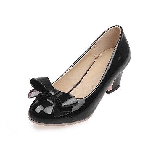 VogueZone009 Femme Fermeture D'Orteil Rond Tire Pu Cuir Couleurs Mélangées à Talon Correct Chaussures Légeres Noir