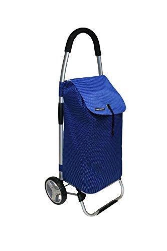 Faltbarer XL Shopping Trolley mit 40 Liter Volumen. Mit Alu-Gestänge, Polyester Tasche in Blau, Kordelzug und großen Rädern. Top! (Auf Rädern-polyester)