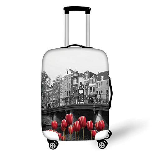 Travel Luggage Cover Suitcase Protector,Black and White Decorations,Monochrome Photo of Amsterdam Canal with Red Tulips Houses Decorative,Black White Red,for Travel