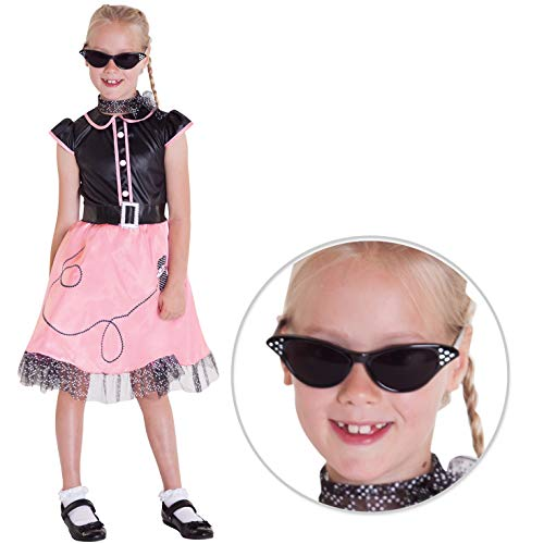 Mädchen 50er Jahre Tänzerin Kostüm Kinder 1950er Jahre Tanzkleid 1950 Pudel Outfit für Kind - Mittel (7 - 9 Jahre) (1950er Pudel Rock Kostüm)