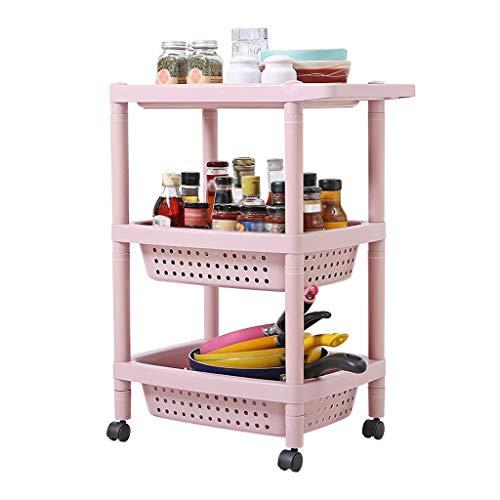 Küchenwagen, Servierwagen, Mehrschichtiger Plastikrollwagen-Umhüllungs-Laufkatze, entfernbares Gebrauchsgewürz-Frucht-Gemüse-Gestell mit Rädern Rollwagen (Color : Pink, Size : 3-tier)
