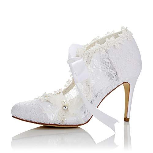JIA JIA Damen Brautschuhe 16798 Geschlossene Zehe High Heel Spitze Satin Pumps Perle Bowknot Ribbon Tie Hochzeitsschuhe Farbe Elfenbein,Größe 39 EU Satin-high-heels