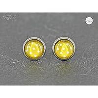 Ohrstecker Edelstahl * Cabochon Dots Punkte gelb weiß 8 mm