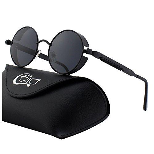 CGID E72 Occhiali da Sole da Uomo Retro Stile Steampunk Rotondi in Metallo