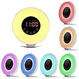 YYQ Wake Up Licht Lichtwecker Tageslichtwecker Wecker Mit Intelligente Schlummerfunktion, Nachttisch Licht, 7 Farblicht,