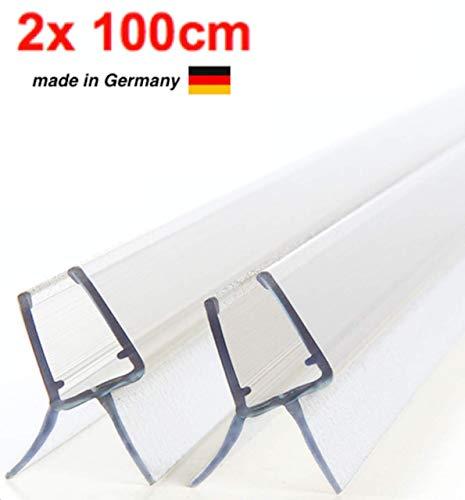 2x100cm Premium- Dichtung für Glastür/Ersatzdichtung Duschtür/Dusche für 6mm / 7mm Glasdicke/Wasserabweiser/Duschdichtung