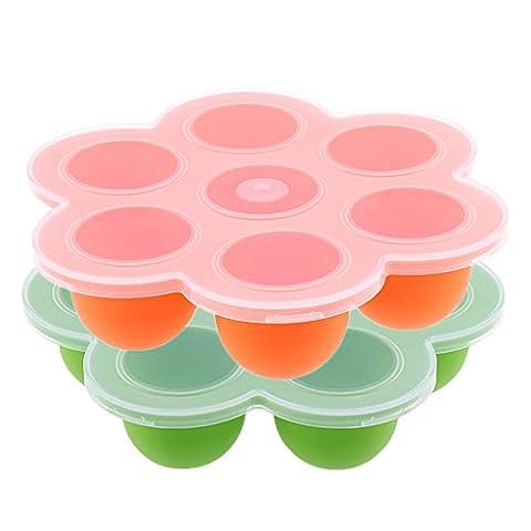 MagiDeal 2Pcs Boîte Récipient pour Bébés 7Trous Congélation Pour Aliments Repas de Bébés en Silicone Vert et Orange