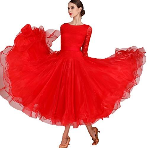 Muster Latin Nähen Dance Kostüm - HAOBAO Elegant Einfach Ballsaaltanz Kleider Big Swing Rock Spitze Nähen Klassisches Walzer Tango Modern Dance Performance Kostüm Exam Dance Kleidung, XL