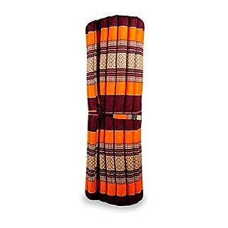 livasia Kapok Liegematte der Marke Asia Wohnstudio, 200cm x 110cm x 4,5cm; Rollmatte BZW. Yogamatte, Thaimatte, Thaikissen als asiatische Rollmatratze (orange)