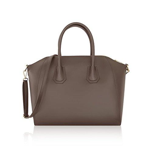 JENIFER Sac à main, sac Bowling cuir lisse et semi-rigide fabriqué en Italie noir
