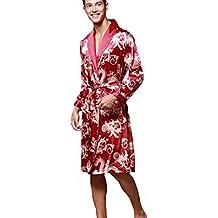 Pijama Hombre Abierto Bata Albornoz de para Dormir Baño para Hombres Satén Kimono Pijamas Otoño