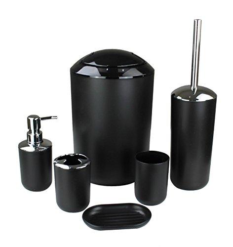 GMMH 6tlg BADSET Badezimmer ZUBEHÖR Set SEIFENSPENDER Halter WC BÜRSTE BADGARNITUR (schwarz Design 3)