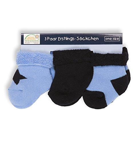 Baby Frottee-Erstlingssöckchen mit Umschlag, 3er Pack, Farbe:blau;Größe:one size