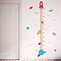 Outer Space Planet Pilot Rocket Growth Chart Home Decor Height Measurement Wall Sticker Kid Boy Room Baby Mural