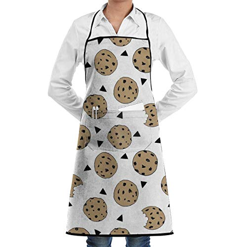 Cookies Food Chocolate Chip Biscuits Grill Aprons Kitchen Chef Bib - Professional for BBQ Baking Cooking for Men Women Pockets BBQ Apron -