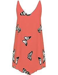 1dec1eff1ef786 WearAll Women's Chiffon Butterfly Print Lined Sleeveless Dip Hem Vest Top  14-28