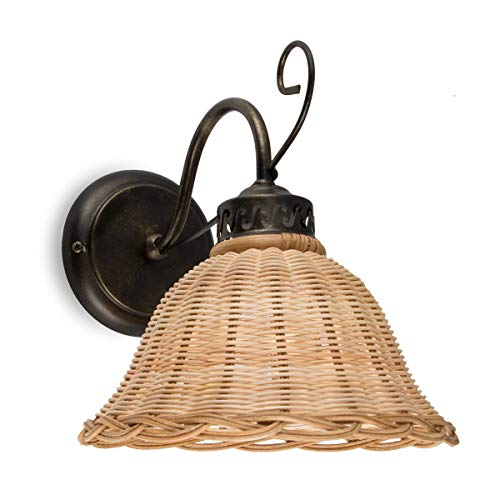 Natur-eisen-wandleuchte (Helios Leuchten 3020712 Wandlampe antik-braun Rattan natur-farbig   Rattanlampe Rattanleuchte Landhausstil   Wandleuchte Korbgeflecht   1 x E27)